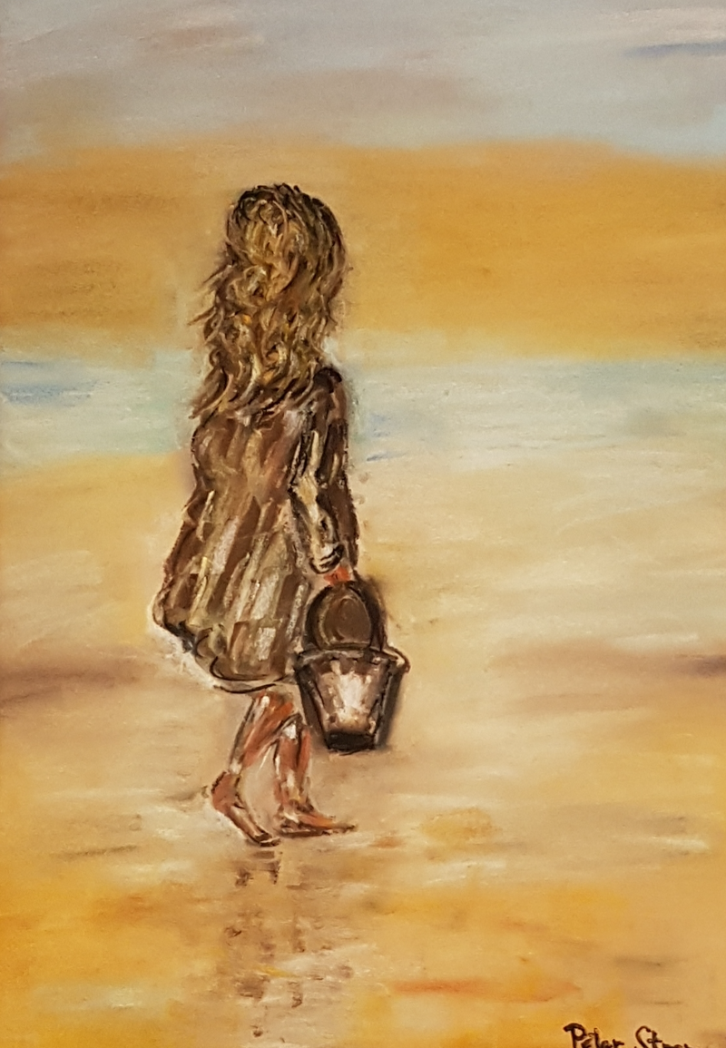 (CreativeWork) Girl on a Beach by Peter Strom. Other Media. Shop online at Bluethumb.