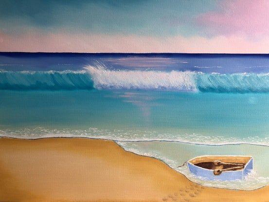 (CreativeWork) Sunrise At The Beach 🏖Series 1 by Judy Staehr. Oil Paint. Shop online at Bluethumb.