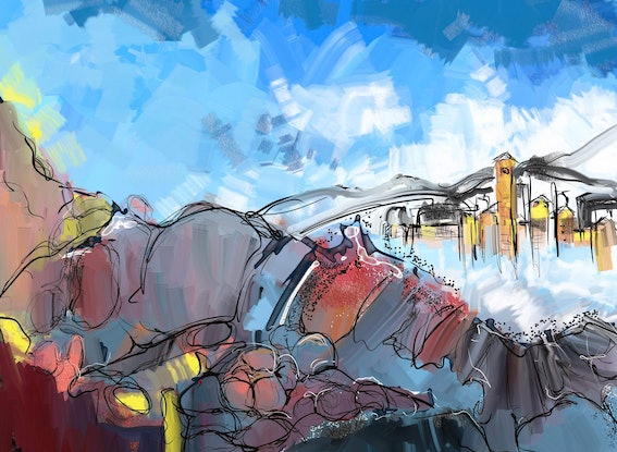 (CreativeWork) Italian Alps in Winter by Gino Ciancio. Other Media. Shop online at Bluethumb.