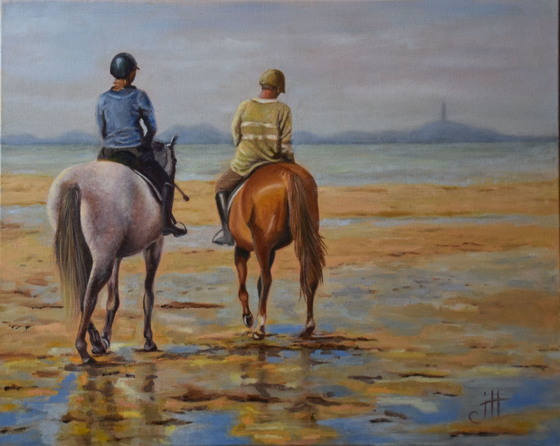 (CreativeWork) Morning Ride by Janette Hafez. Oil Paint. Shop online at Bluethumb.