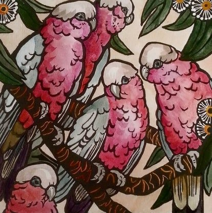 (CreativeWork) Limited edition Hand coloured linoprint - 'Galahs!' by Sophie Sorella. Other Media. Shop online at Bluethumb.