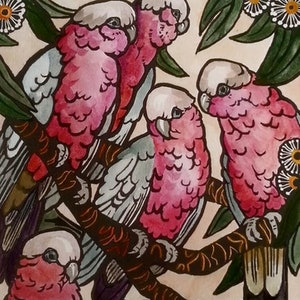 (CreativeWork) Limited edition Hand coloured linoprint - 'Galahs!' by Sophie Sorella. #<Filter:0x0000556b3006f180>. Shop online at Bluethumb.