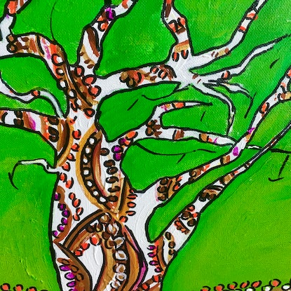 (CreativeWork) Boab Green by Gillian Fahey. Acrylic Paint. Shop online at Bluethumb.