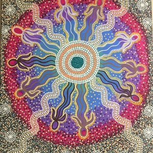 (CreativeWork) Aboriginal dot painting 'We are connected' by gidabul doobay. arcylic-painting. Shop online at Bluethumb.