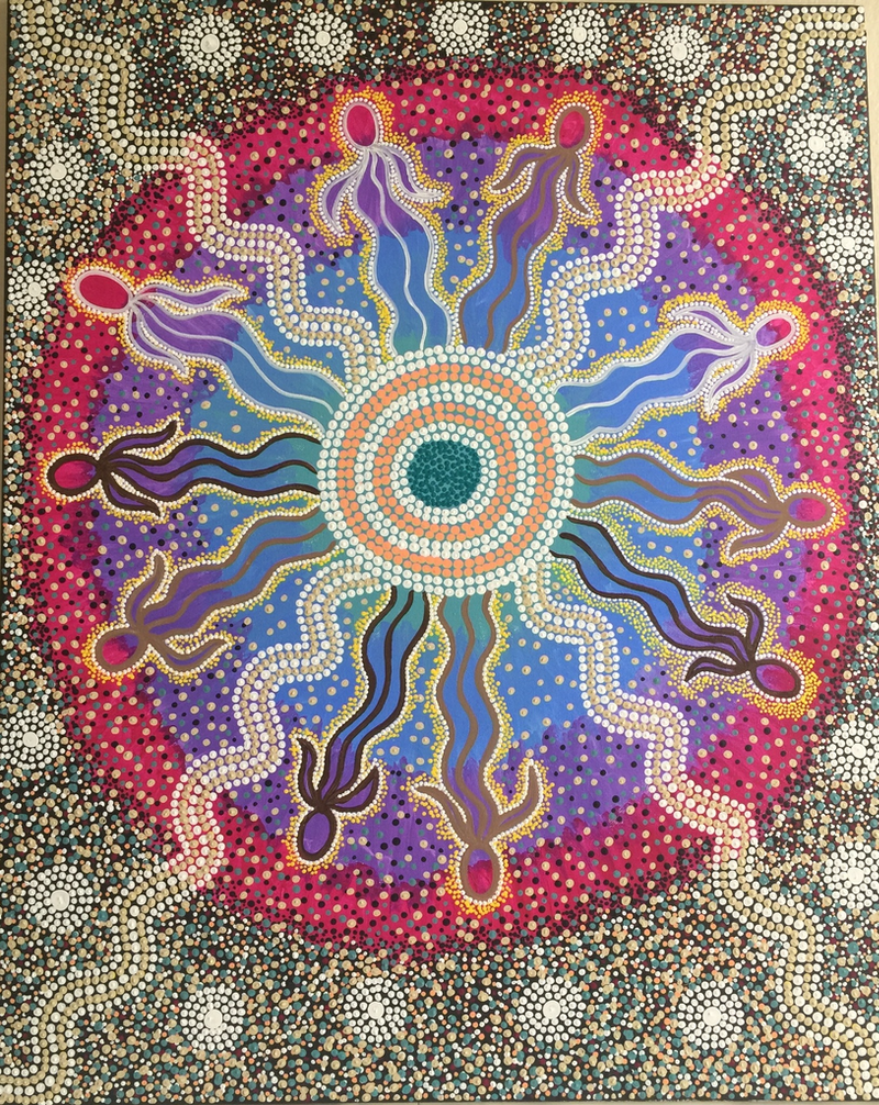(CreativeWork) Aboriginal dot painting 'We are connected' by gidabul doobay. Acrylic Paint. Shop online at Bluethumb.