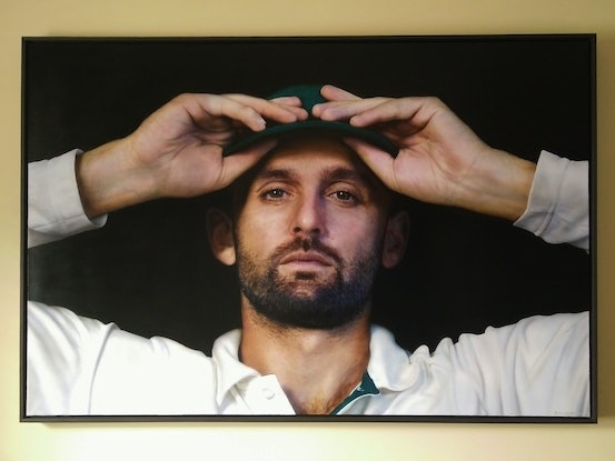(CreativeWork) Nice Garry (Portrait of Nathan Lyon) by Todd Simpson. Acrylic Paint. Shop online at Bluethumb.