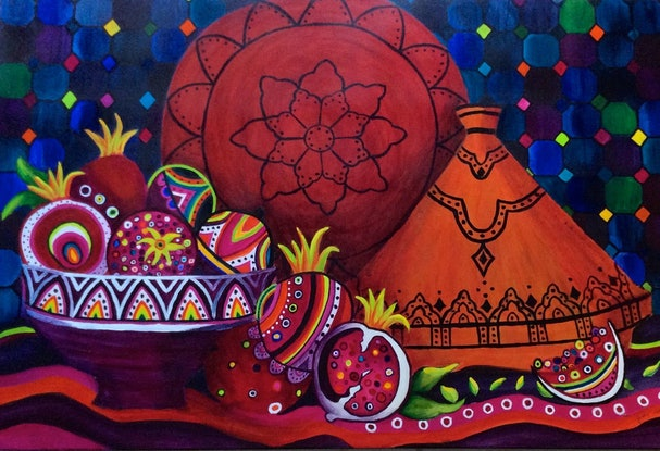 (CreativeWork) Persian Pomegranates  by Judy Stephen. Acrylic Paint. Shop online at Bluethumb.