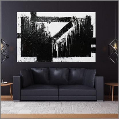 (CreativeWork) Geometry 160cm x 100cm  Black White Minimalist Texture Acrylic Gloss Finish Abstract FRANKO by _Franko _. Acrylic Paint. Shop online at Bluethumb.