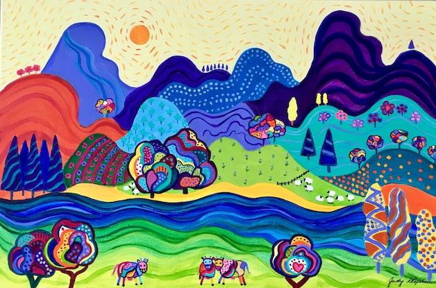 (CreativeWork) Happy Valley  by Judy Stephen. Acrylic Paint. Shop online at Bluethumb.
