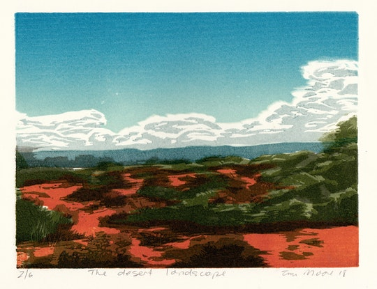 (CreativeWork) The desert landscape Ed. 1 of 1 by Tina Moore. Print. Shop online at Bluethumb.