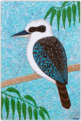 (CreativeWork) Kookaburra - textured abstract by Miranda Lloyd. Mixed Media. Shop online at Bluethumb.
