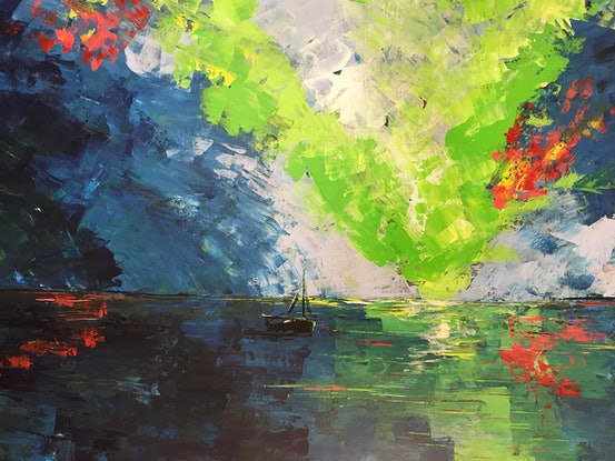 (CreativeWork) Aurora Sailing by Maggie Deall. Acrylic Paint. Shop online at Bluethumb.