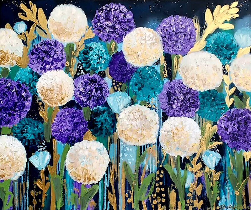 (CreativeWork) Hydrangeas by Sandra Oost. Acrylic Paint. Shop online at Bluethumb.