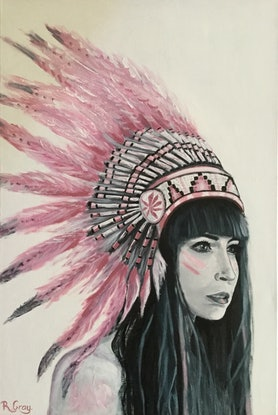 (CreativeWork) Warrior Woman  DONATED TO FUNDRAISER EVENT by Robyn Gray. Acrylic Paint. Shop online at Bluethumb.