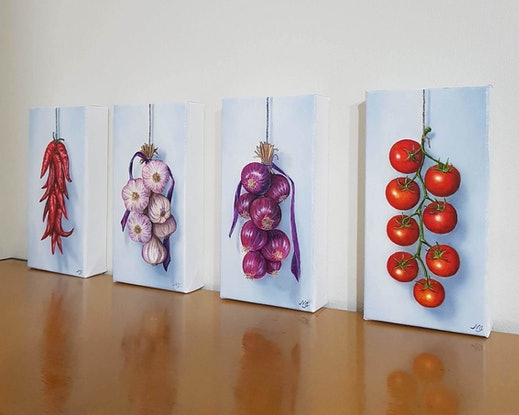 (CreativeWork) String of Red Onion  by Natasha Junmanee. Oil Paint. Shop online at Bluethumb.