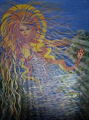 (CreativeWork) Goddess of the Sun by Sally Lancaster. Acrylic Paint. Shop online at Bluethumb.