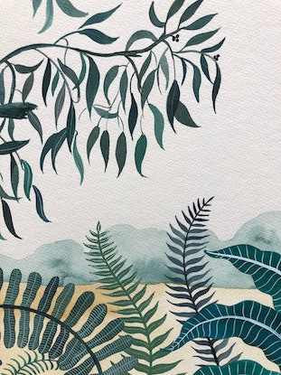 (CreativeWork) Mrs Macquarie's Gum - Triptych (Framed) by Sally Browne. Watercolour Paint. Shop online at Bluethumb.
