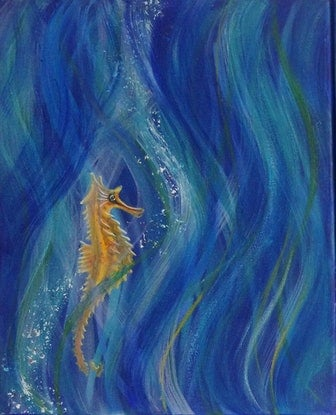 (CreativeWork) Seahorses by Sally Lancaster. Acrylic Paint. Shop online at Bluethumb.