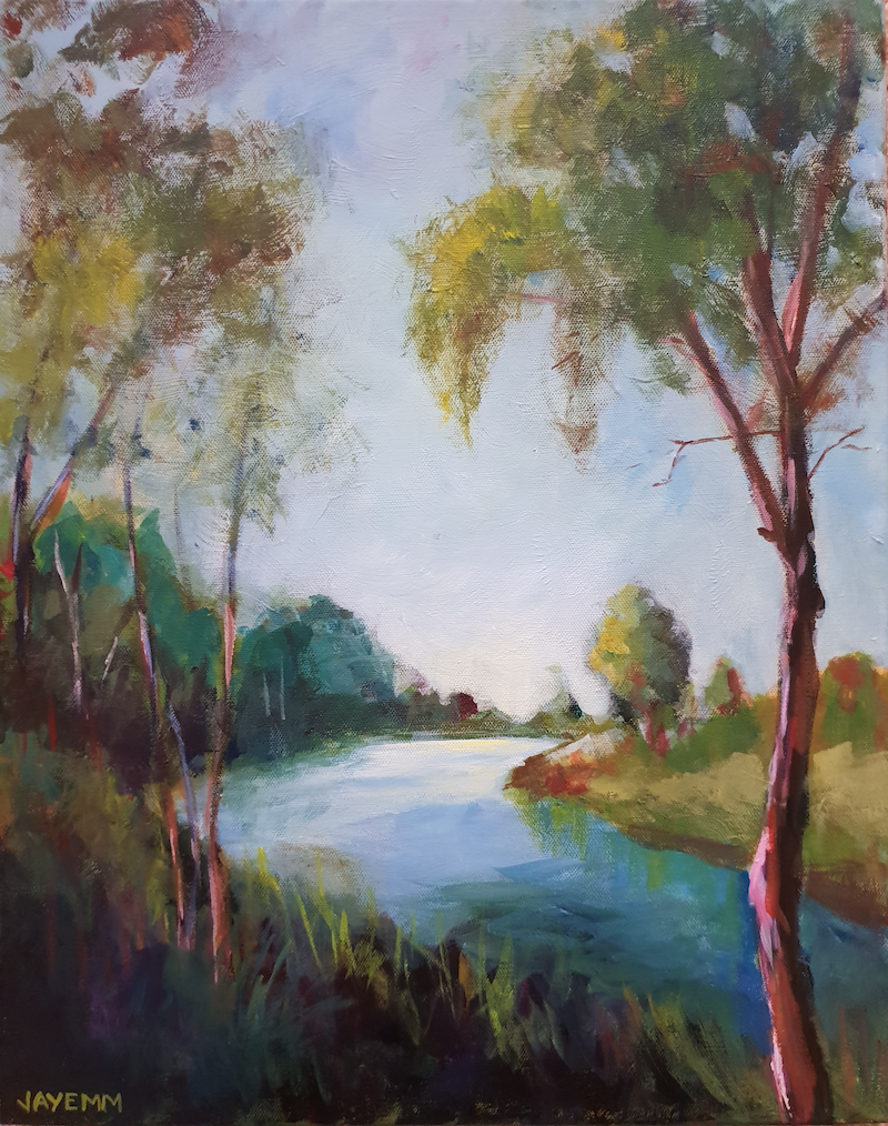 (CreativeWork) Skeleton Creek looking East by Jenny Moynahan. Acrylic Paint. Shop online at Bluethumb.
