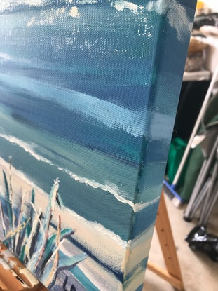 (CreativeWork) Ocean Blue 1 by Leanne Manns. Acrylic Paint. Shop online at Bluethumb.