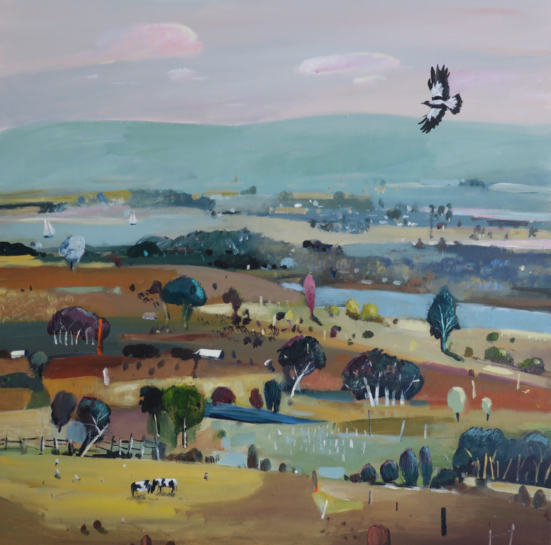 (CreativeWork) Australian Landscape - Soaring High by Susan Trudinger. arcylic-painting. Shop online at Bluethumb.