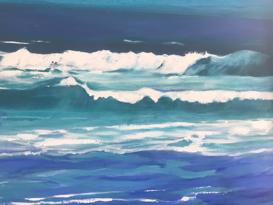 (CreativeWork) Ocean Blue 2 by Leanne Manns. Acrylic Paint. Shop online at Bluethumb.