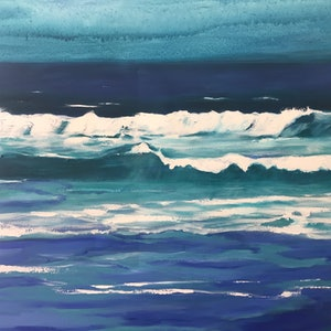 (CreativeWork) Ocean Blue 2 by Leanne Manns. arcylic-painting. Shop online at Bluethumb.