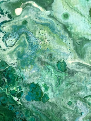 (CreativeWork) Flying Over Daintree by Jackie Peach. Acrylic Paint. Shop online at Bluethumb.