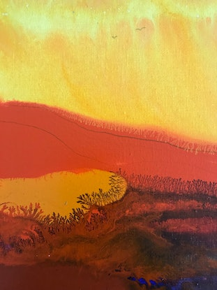 (CreativeWork) Into The Sunset by Jackie Peach. Acrylic Paint. Shop online at Bluethumb.