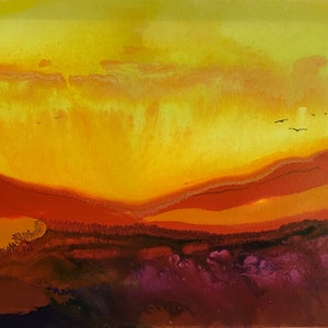 (CreativeWork) Into The Sunset by Jackie Peach. arcylic-painting. Shop online at Bluethumb.