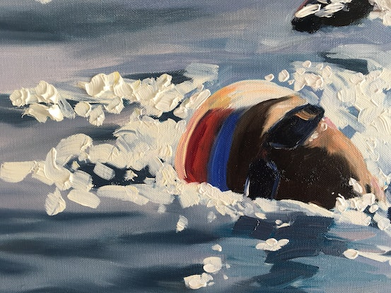 (CreativeWork) Swimmers Reach by Meredith Howse. Oil Paint. Shop online at Bluethumb.