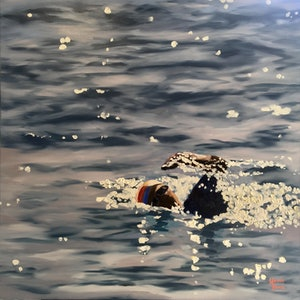 (CreativeWork) Swimmers Reach by Meredith Howse. oil-painting. Shop online at Bluethumb.