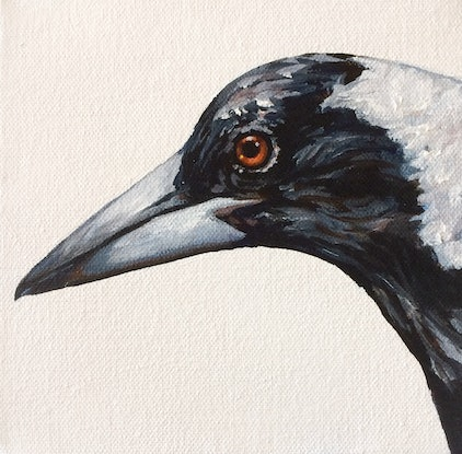 (CreativeWork) Magpie by april white. Acrylic Paint. Shop online at Bluethumb.