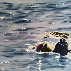 (CreativeWork) Swimming 3 (Large) by Meredith Howse. oil-painting. Shop online at Bluethumb.