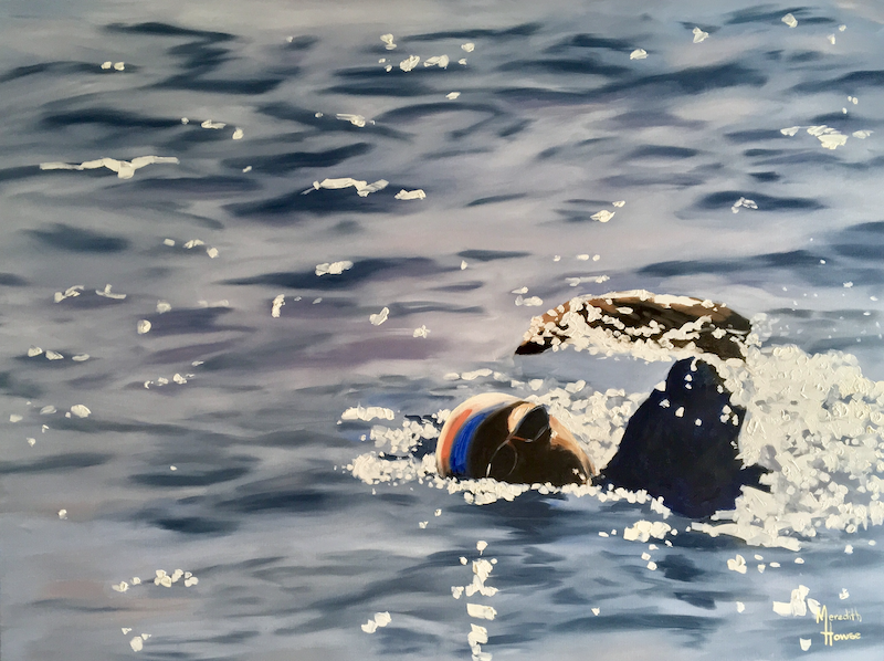 (CreativeWork) Swimmer 3 - Classic Blue by Meredith Howse. Oil Paint. Shop online at Bluethumb.