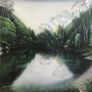 (CreativeWork) Billabong at Federal (NSW) by Tracey Knowland. oil-painting. Shop online at Bluethumb.