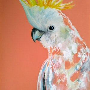 (CreativeWork) Just Peachy (SALE REDUCED FROM $650) by Amanda Skye. arcylic-painting. Shop online at Bluethumb.