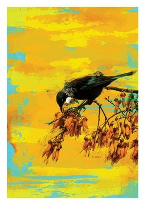(CreativeWork) Tui on Kawhai Tree Ed. 5 of 100 by Kalman Lee. Print. Shop online at Bluethumb.