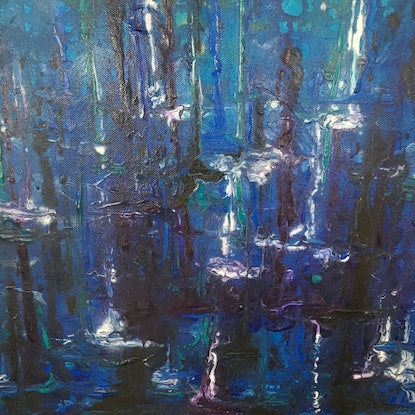 (CreativeWork) Blue Forest by Nicole Nash. Acrylic Paint. Shop online at Bluethumb.
