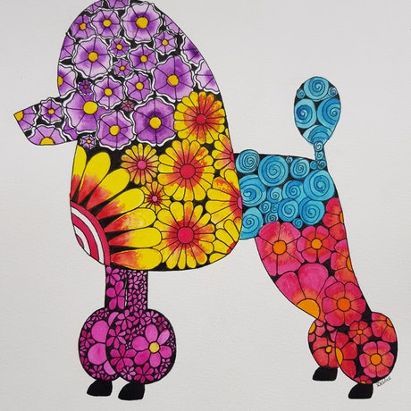 (CreativeWork) Poodle doodle by Deb Coulter. Watercolour Paint. Shop online at Bluethumb.