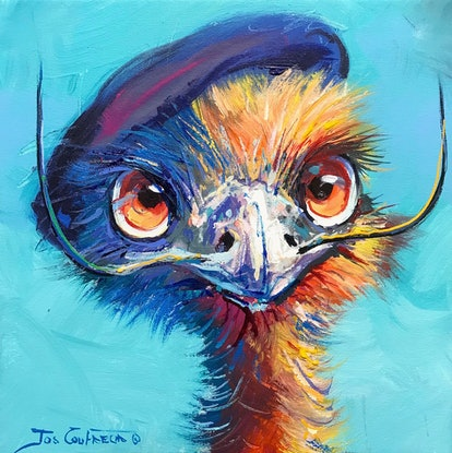 (CreativeWork) Emu Dali by Jos Coufreur. Acrylic Paint. Shop online at Bluethumb.