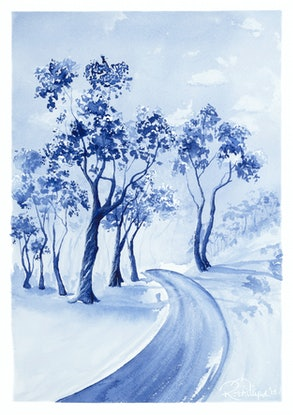 (CreativeWork) Gum Tree on the Track by Rebecca Phillips. Watercolour Paint. Shop online at Bluethumb.
