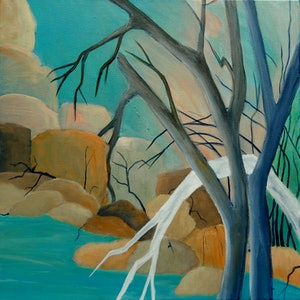 (CreativeWork) River and Rock by Doodie Herman. Acrylic Paint. Shop online at Bluethumb.