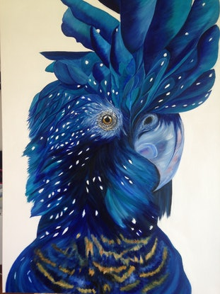 (CreativeWork) Blue Cockatoo No3 by Sharon Lagden. Acrylic Paint. Shop online at Bluethumb.