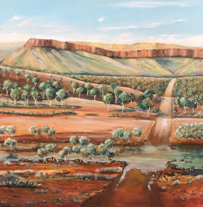 (CreativeWork) Kimberley's River crossing  by Ron Brown. Mixed Media. Shop online at Bluethumb.