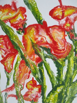 (CreativeWork) LILIES OF COLOR by Marty Foster. Acrylic Paint. Shop online at Bluethumb.