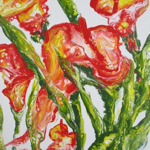 (CreativeWork) LILIES OF COLOR by Marty Foster. arcylic-painting. Shop online at Bluethumb.