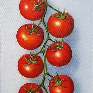(CreativeWork) Rapunzel Cherry Tomatoes by Natasha Junmanee. oil-painting. Shop online at Bluethumb.