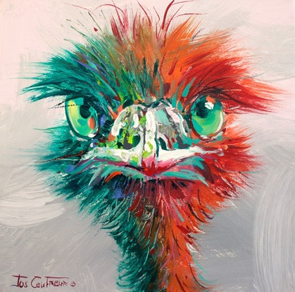 (CreativeWork) Emu 51 by Jos Coufreur. Acrylic Paint. Shop online at Bluethumb.