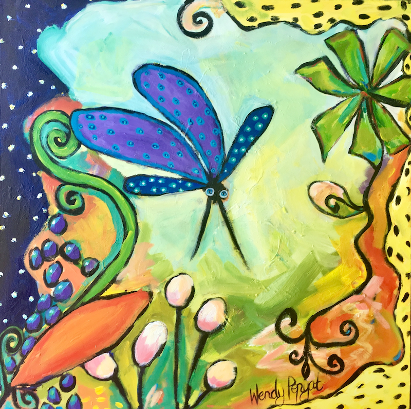 (CreativeWork) Dragonfly by Wendy Bache. Acrylic Paint. Shop online at Bluethumb.